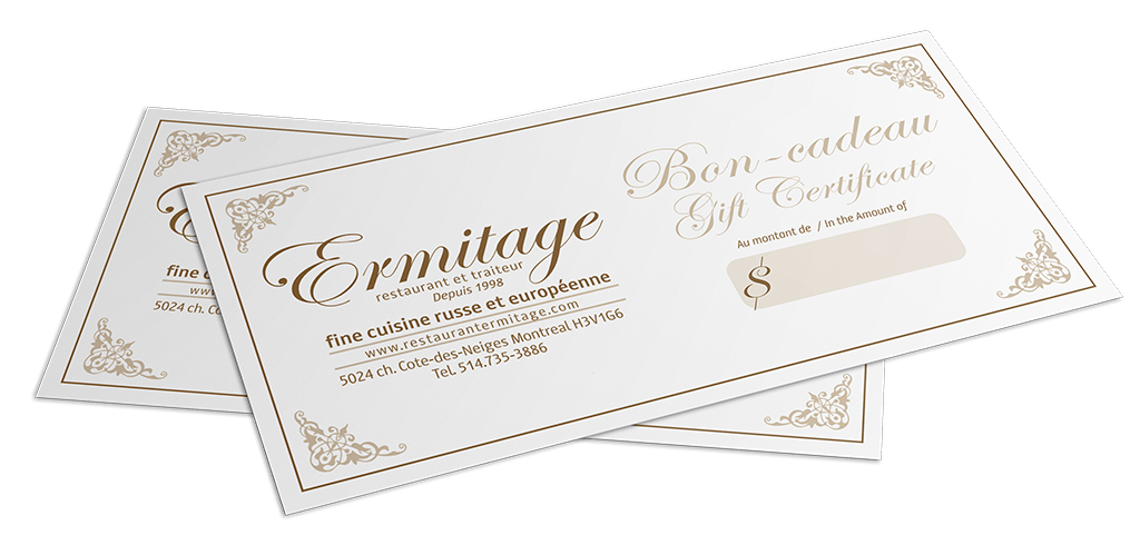 Carte Cadeau Restaurant Montreal.Ermitage Restaurant Europeen Russe A Montreal Certificate